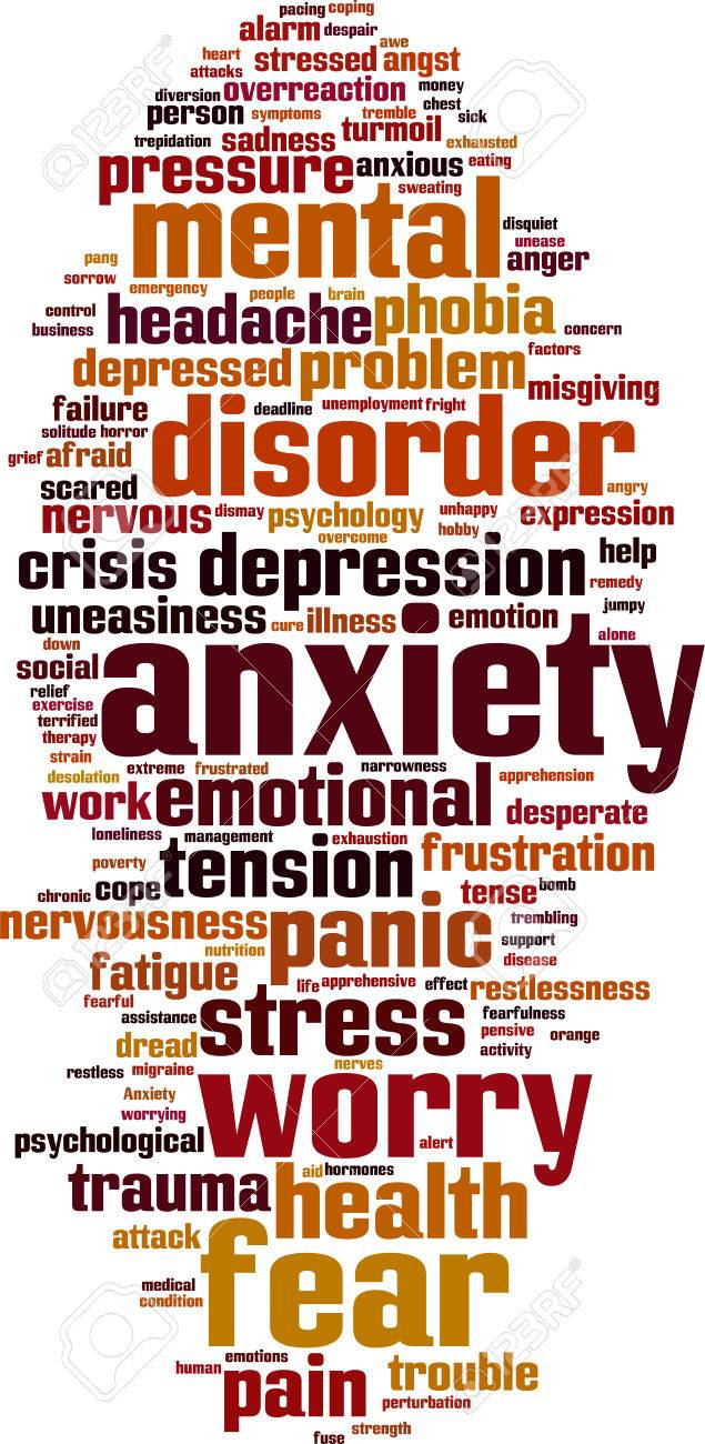 Anxiety word cloud concept. Stock Vector - 33142512