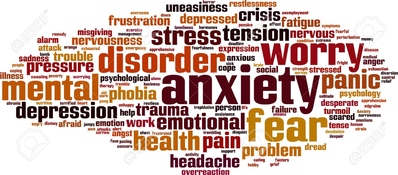 Anxiety word cloud concept. Vector illustration Stock Vector - 33480017