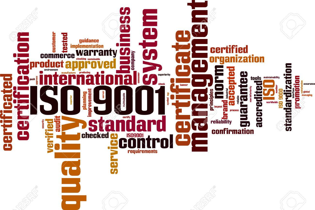 ISO 9001 word cloud concept. Vector illustration Stock Vector - 35016089