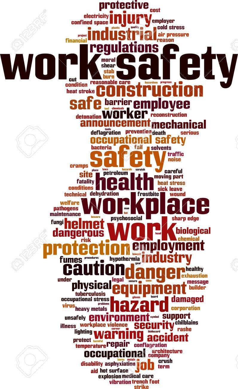 Work safety word cloud concept. Vector illustration Stock Vector - 35119471