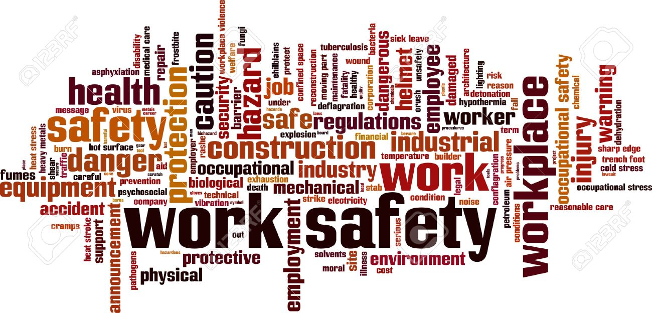 Work safety word cloud concept. Vector illustration Stock Vector - 35119492
