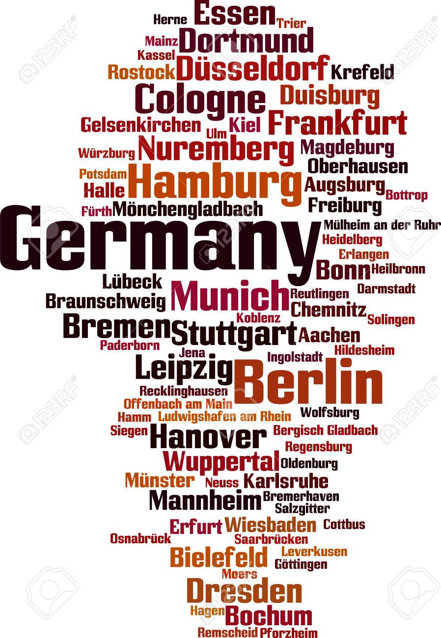 cities in germany word cloud concept vector illustration royalty