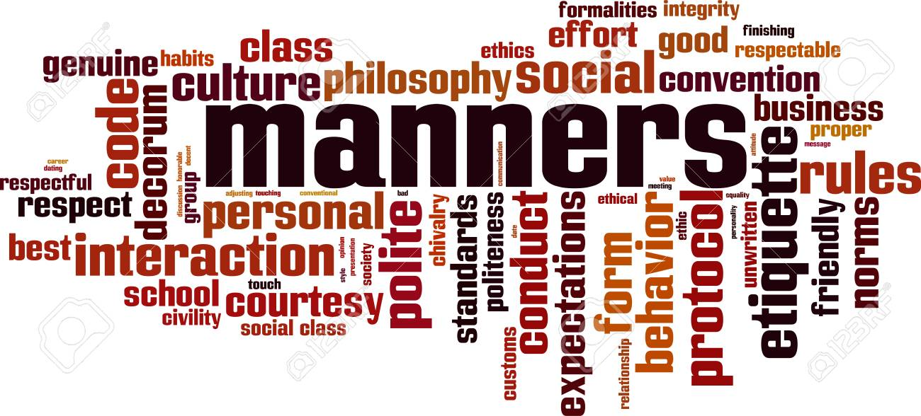 Manners word cloud concept. Vector illustration - 91553900