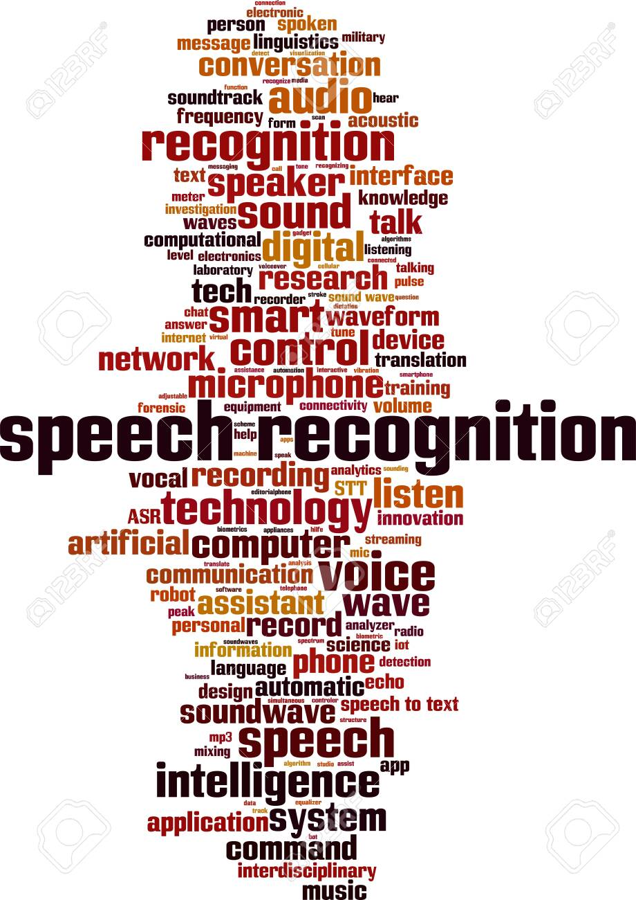 Speech recognition word cloud concept. Collage made of words about speech recognition. Vector illustration - 128917326
