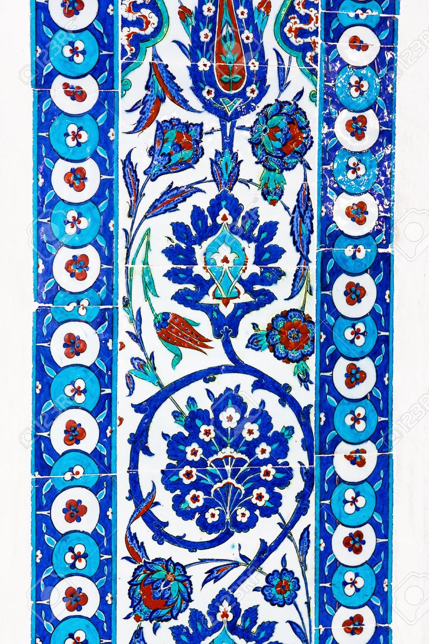 The Turkish Ceramic Tiles From Rustem Pasha Mosque, Istanbul Stock ...