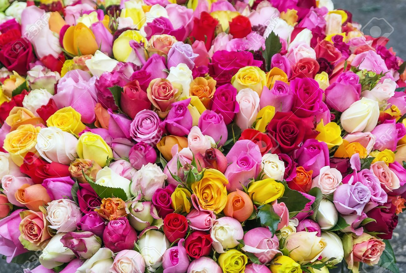 Tres Grand Bouquet De Roses Multicolores Banque D Images Et Photos