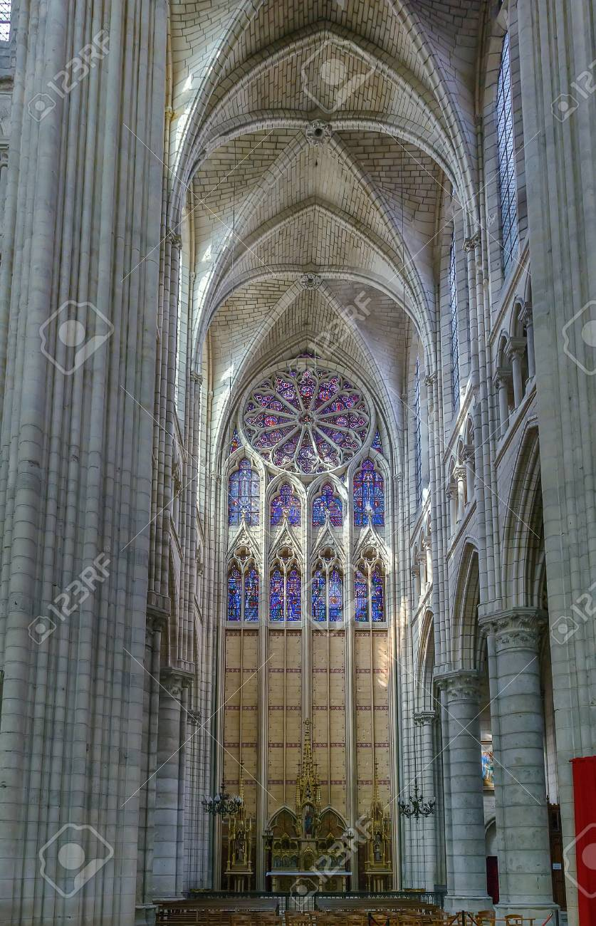 Soissons Cathedral Basilica Is A Gothic In France Interior Stock Photo