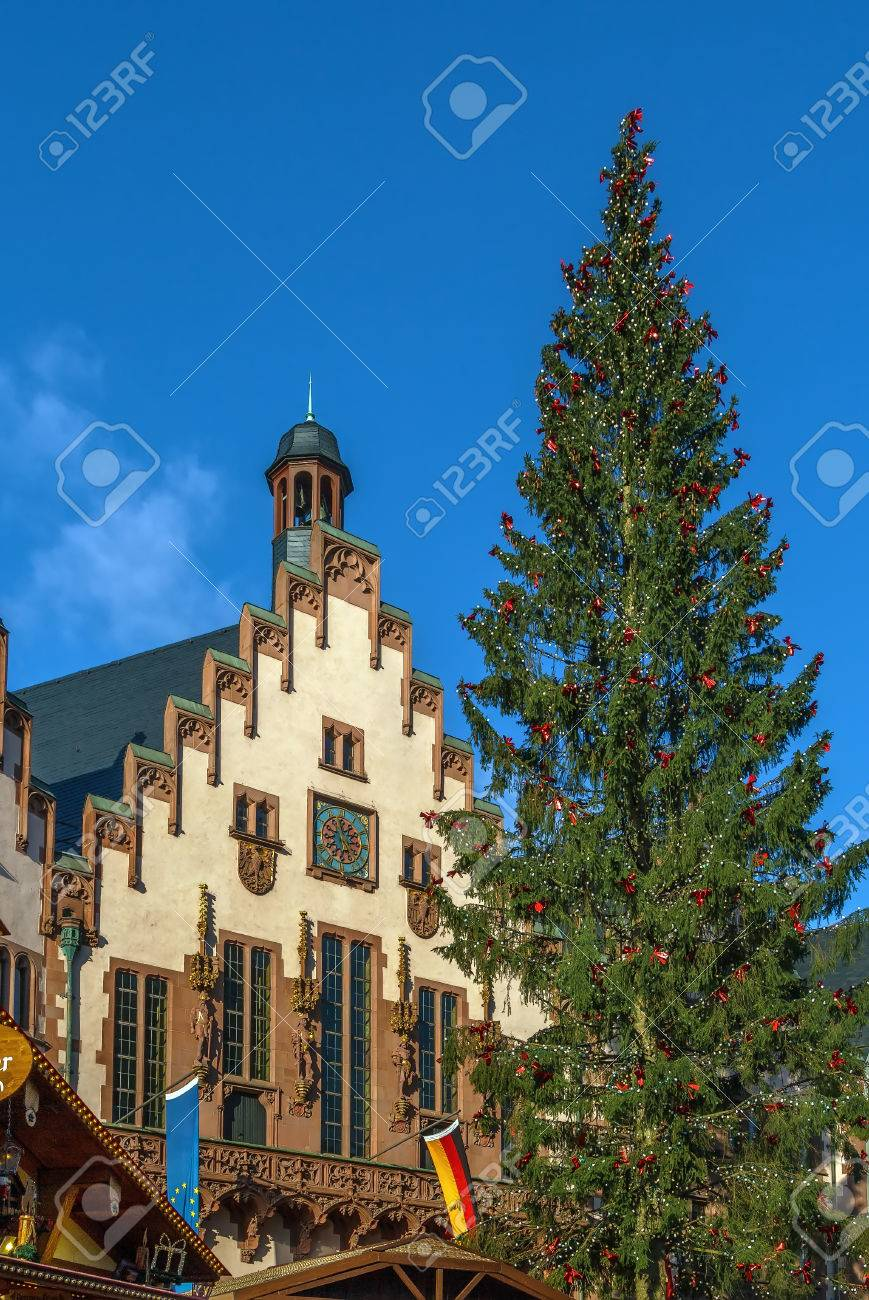 Weihnachtsbaum Frankfurt.Stock Photo