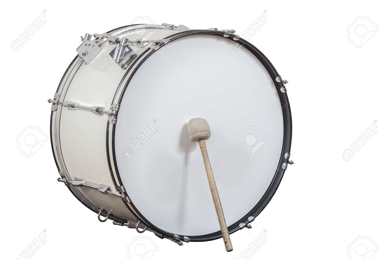 lassic musical instrument big drum isolated on white background - 55245487