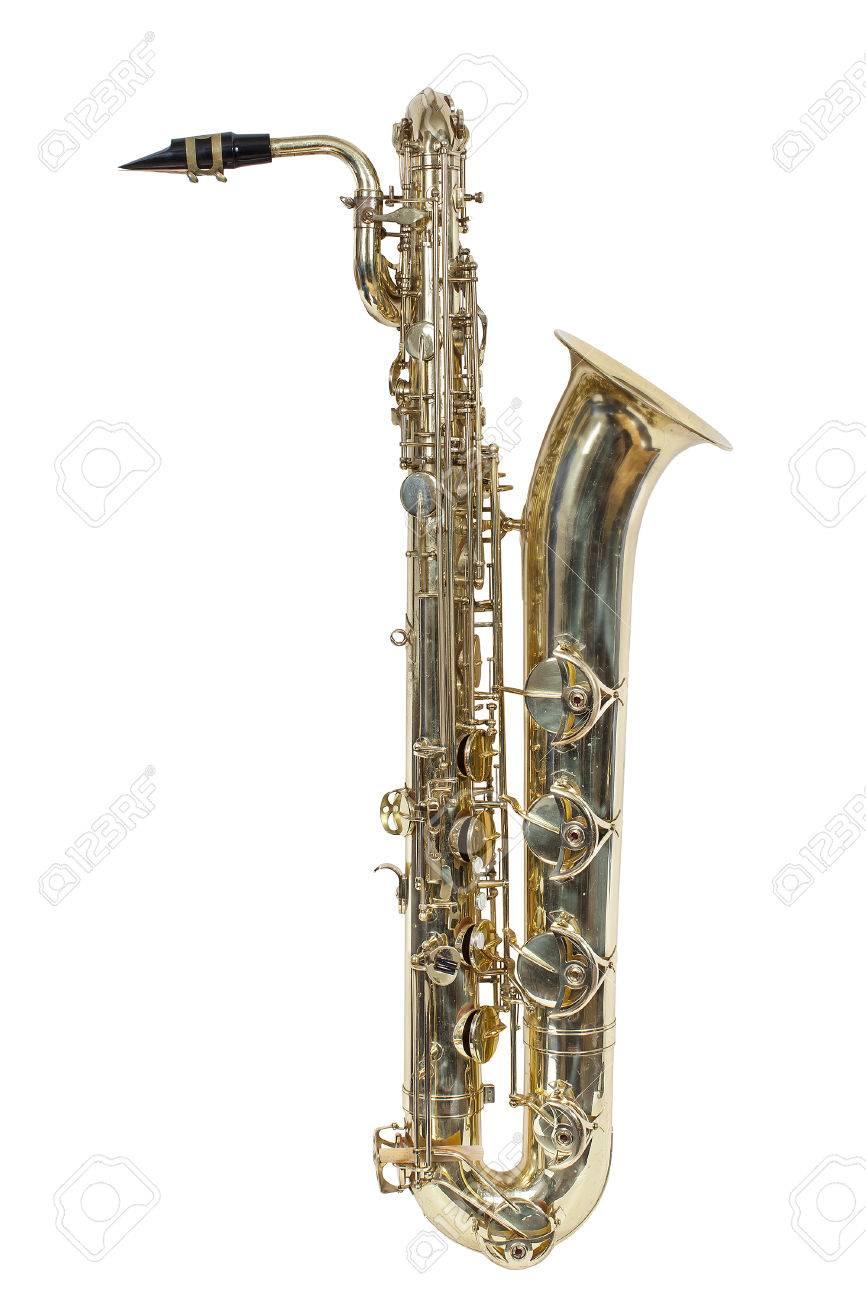 古典的な楽器白い背景で隔離のバリトン サックス の写真素材画像素材