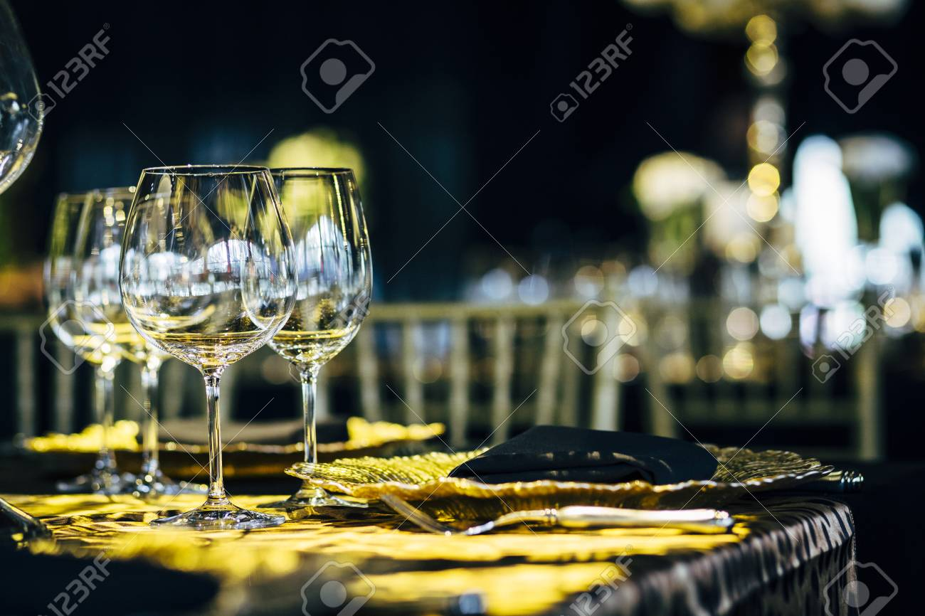 Luxury table settings for fine dining with and glassware beautiful blurred background. Preparation for & Luxury Table Settings For Fine Dining With And Glassware Beautiful ...