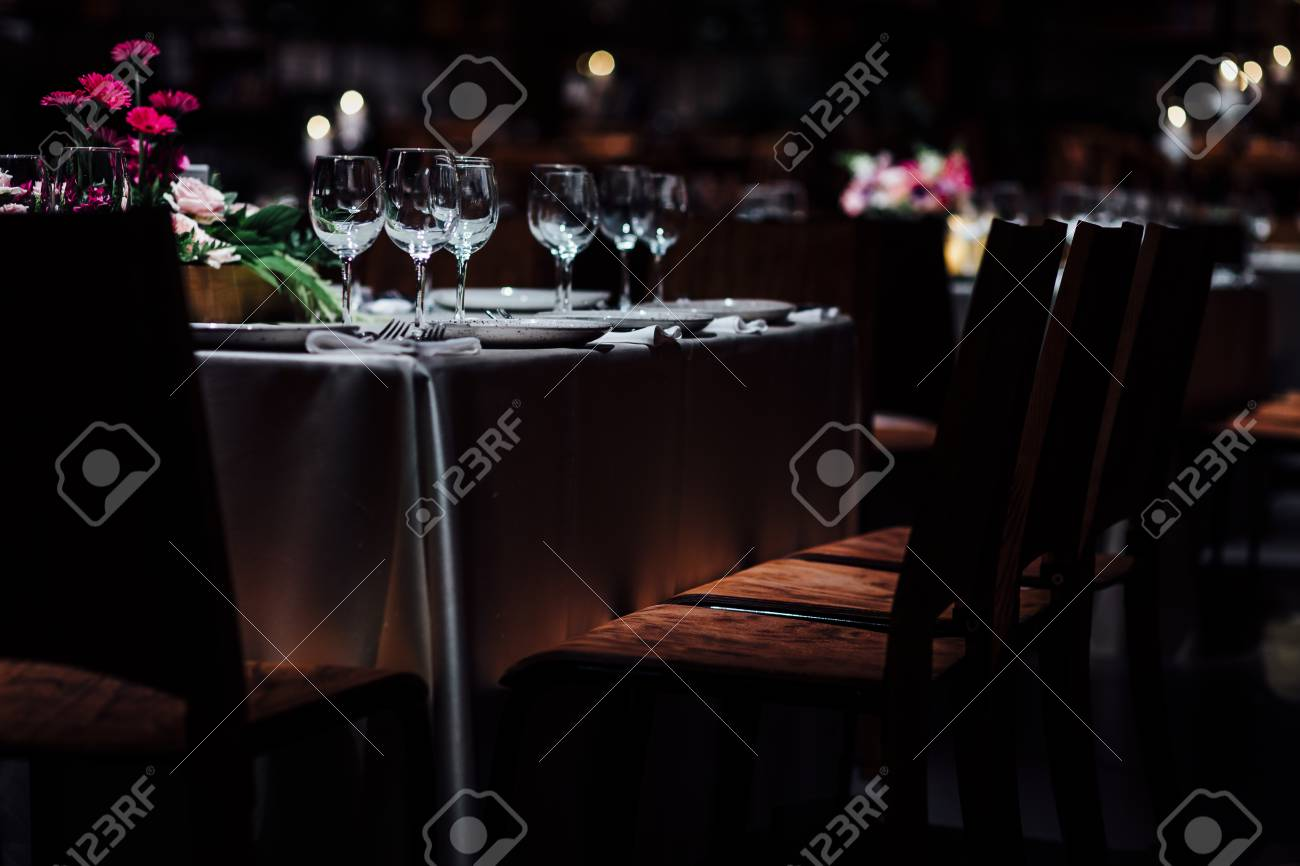 Luxury table settings for fine dining with and glassware beautiful blurred background. For events & Luxury Table Settings For Fine Dining With And Glassware Beautiful ...