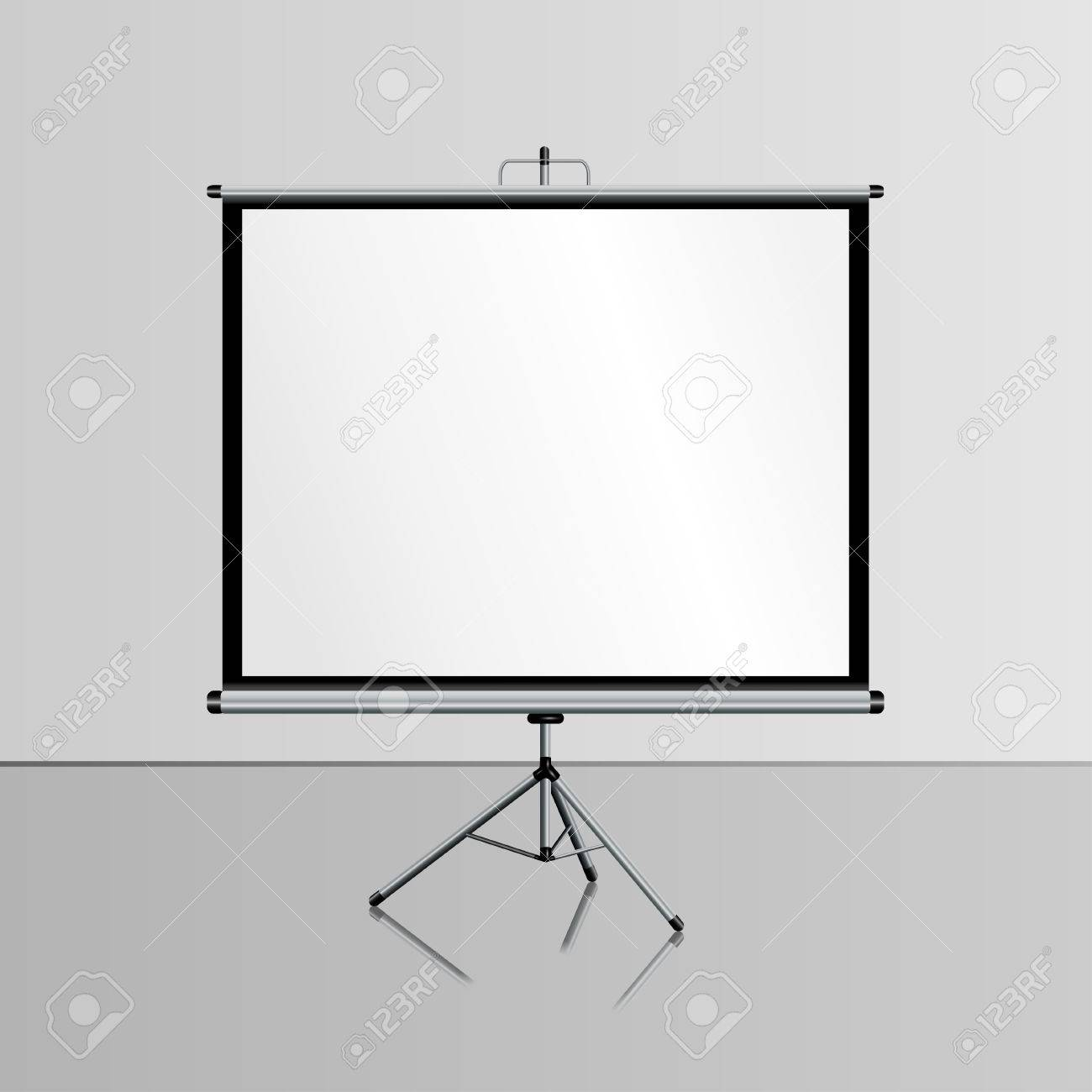 realistic blank projector screen for presentation whiteboard