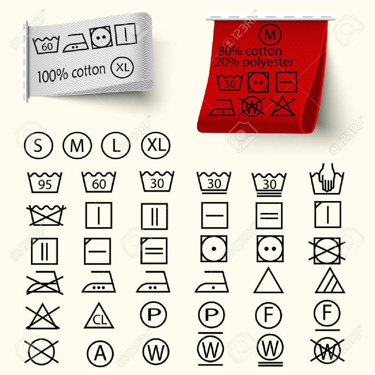 Set of textile care sign, laundry care icons, thin line design, textile labels with tissue structure red and white, vector - 54700191