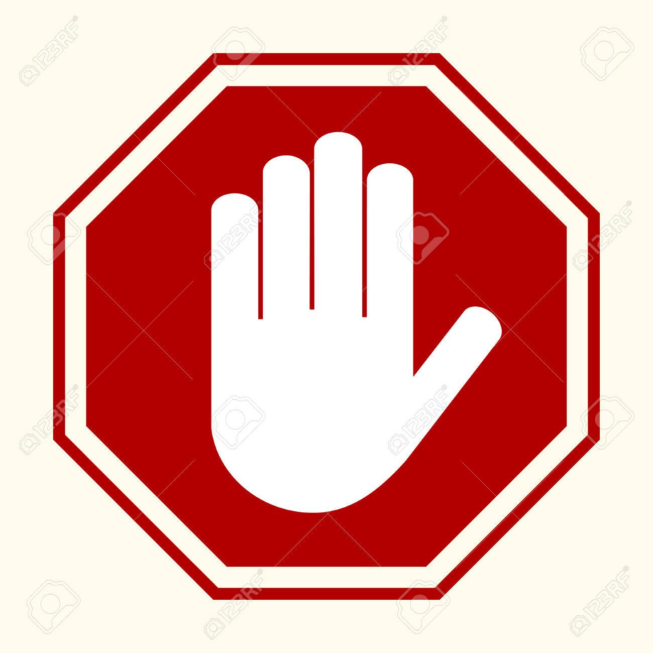 stop sign white hand in red octagonal vector royalty free cliparts rh 123rf com stop signage vector vector stop sign free