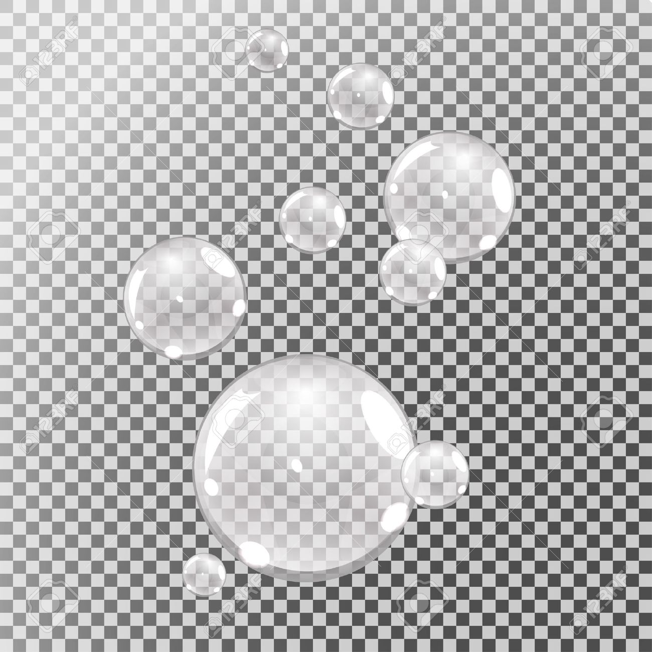 underwater bubbles, water bubbles on transparent background, vector - 54700398