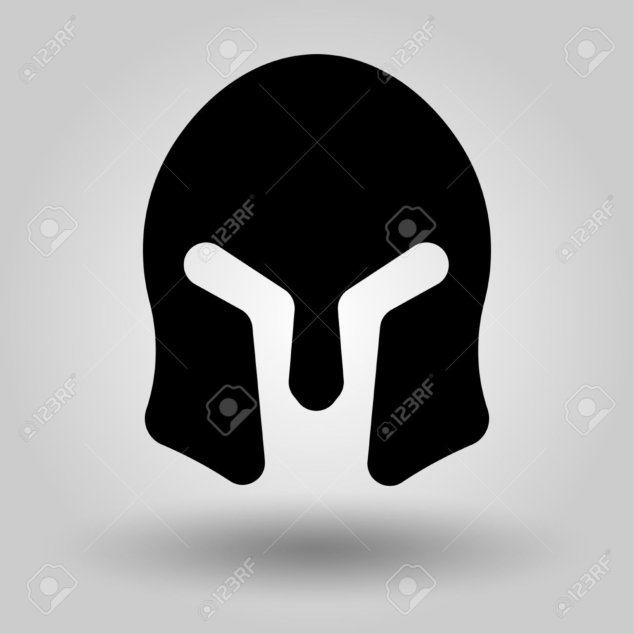 Spartan Helmet Full Face Silhouette Symbol Of Gladiator Soldier