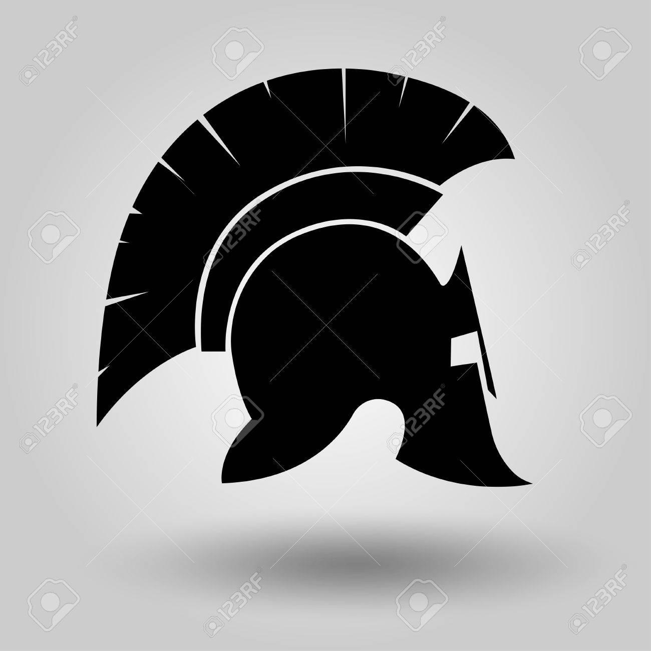 Spartan Helmet silhouette, symbol of gladiator soldier or greek warrior or roman legionary, helmet hero sign, vector - 55560166