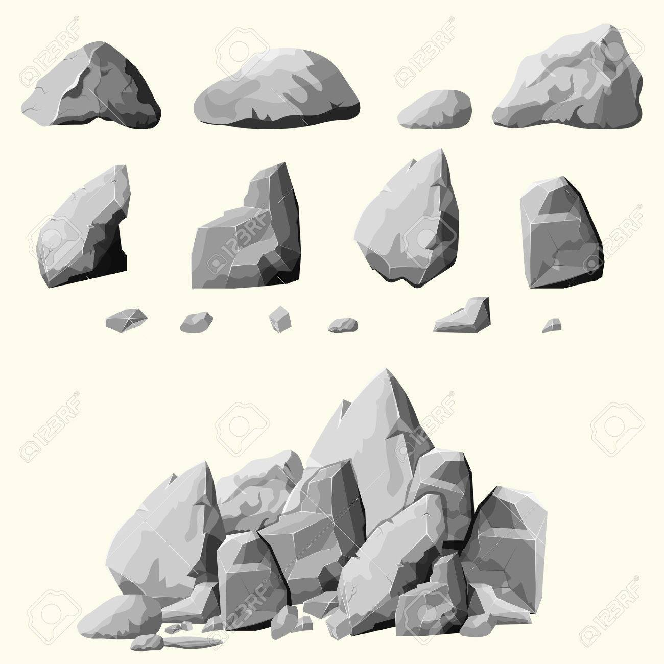 Set of stones, rock elements different shapes and shades of gray, cartoon style boulders set, flat design, isometric stones on white background, you can simply regroup rocks, vector - 55946790