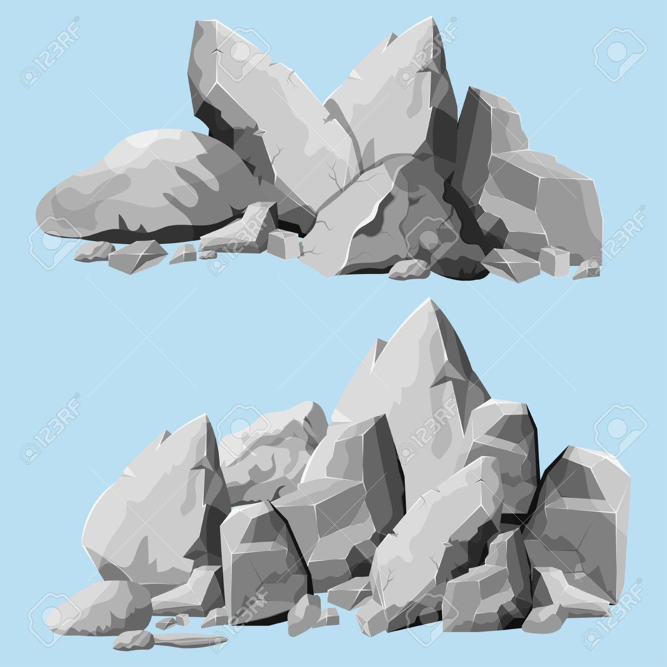 Set of stones, rock elements different shapes and shades of gray, cartoon style boulders set, flat design, isometric stones on white background, you can simply regroup rocks, vector - 55946798