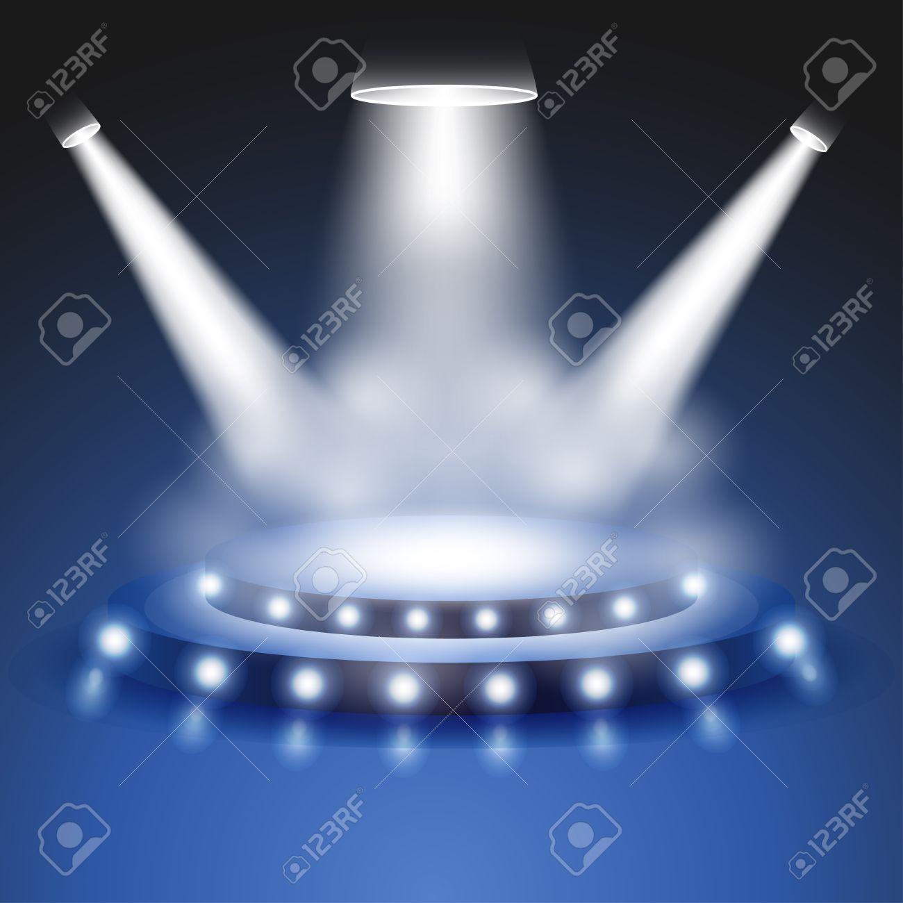 Scene with realistic Light and smoke effect, Stage or podium spotlight, Show scene spotlight, shine spotlight on transparent background, stage lighting spotlights, scene illumination, vector - 55946792