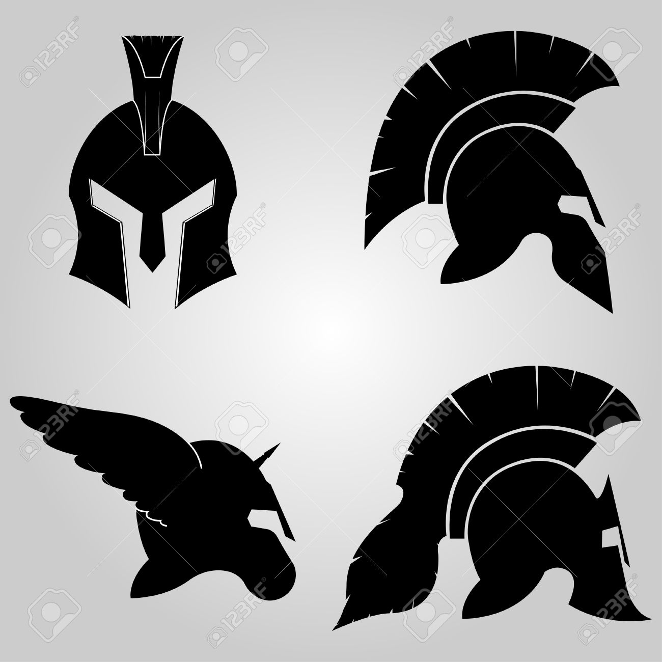 Spartan helmets set full face and in profile silhouettes spartan helmets set full face and in profile silhouettes winged helm with horn biocorpaavc