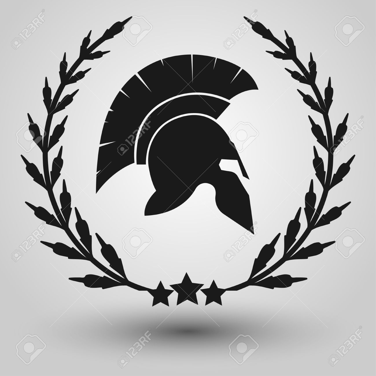 Spartan Helmet Silhouettes With Laurel Wreath Symbol Of Gladiator Soldier Or Greek Warrior Roman