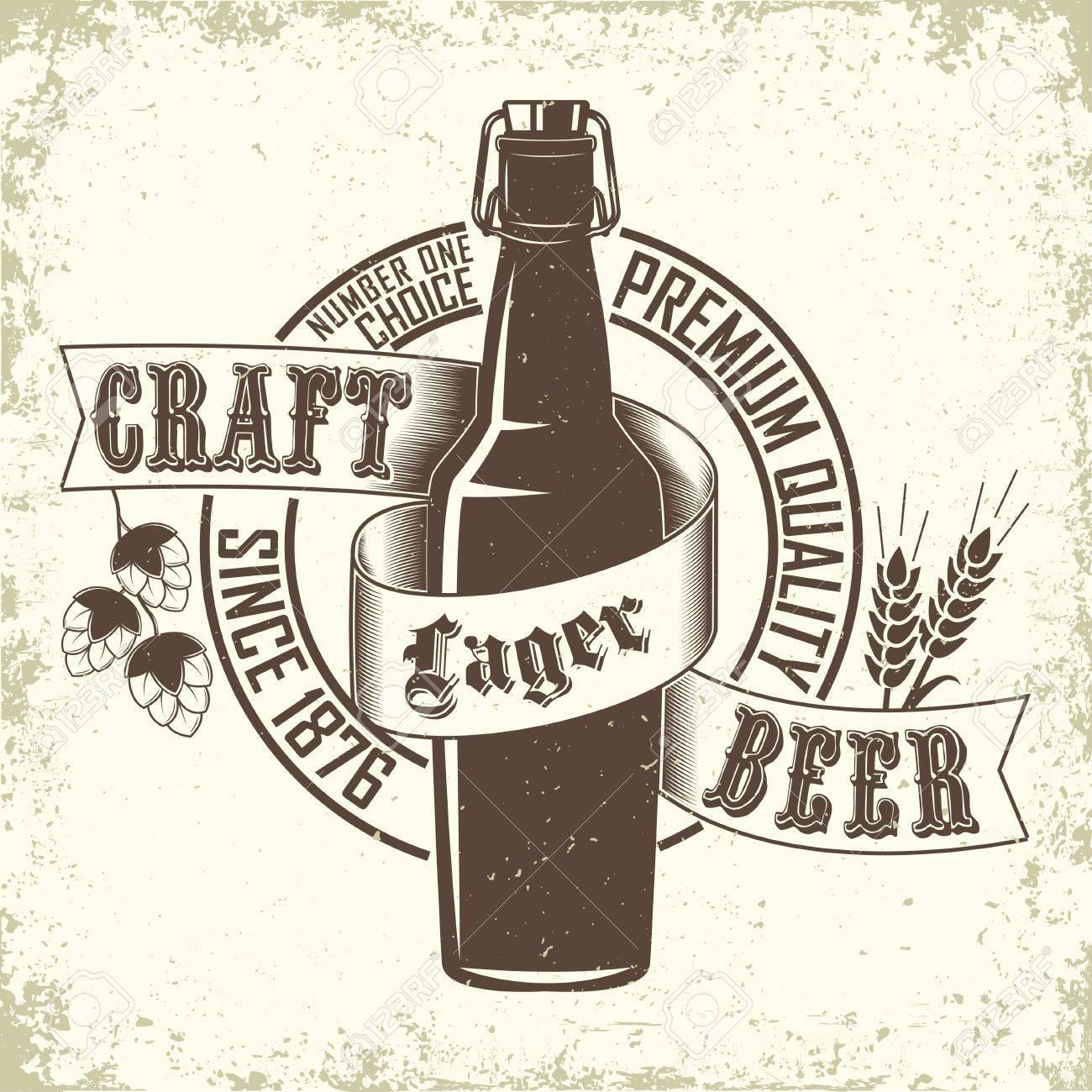 Vintage Brewery Logo Creative Design Craft Beer Typography