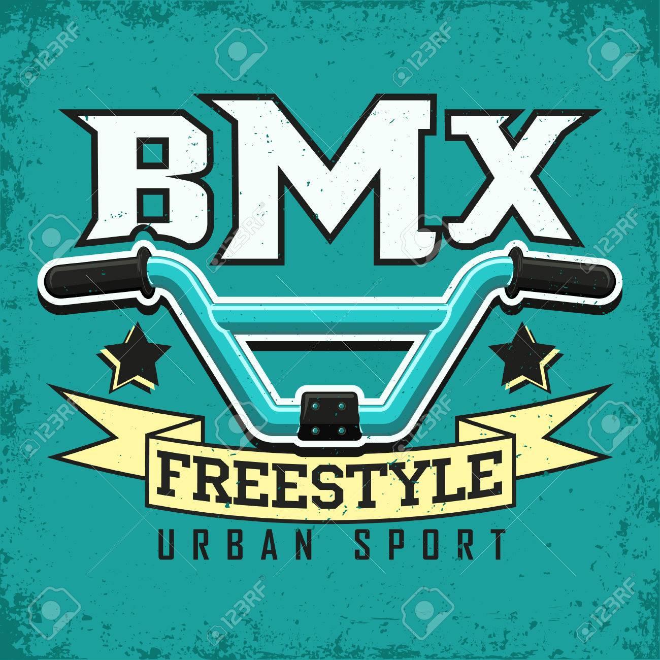 Vintage t-shirt graphic design, grange print stamp, bmx typography emblem, bmx freestyle sports logo Creative design, Vector - 69004333