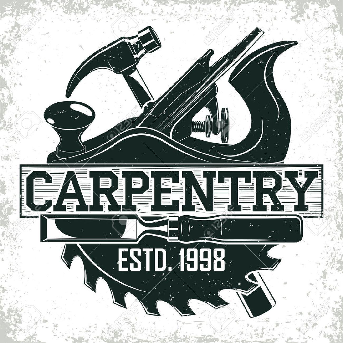 Vintage woodworking logo design, grange print stamp, creative carpentry typography emblem, Vector - 72243721