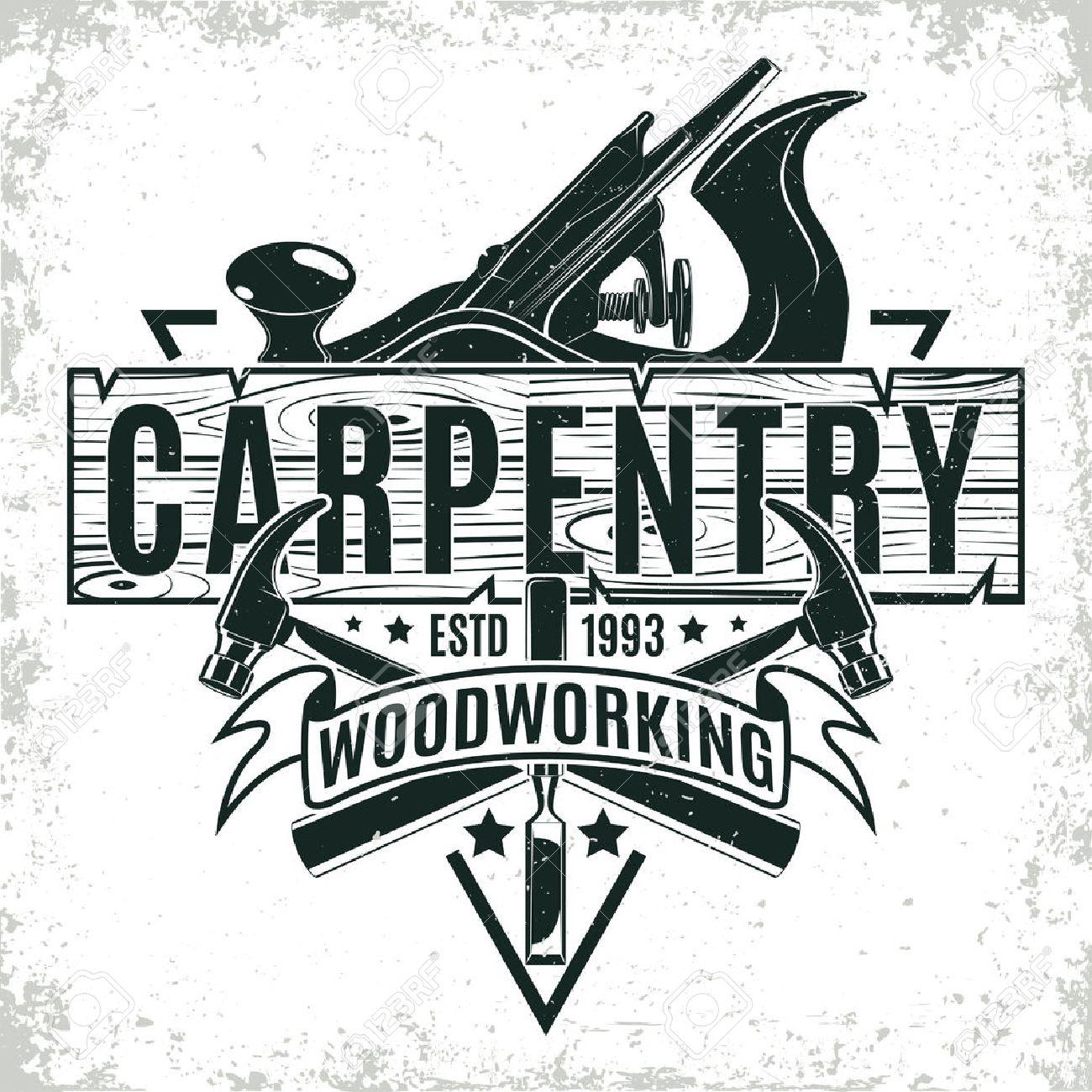 Vintage woodworking logo design, grange print stamp, creative