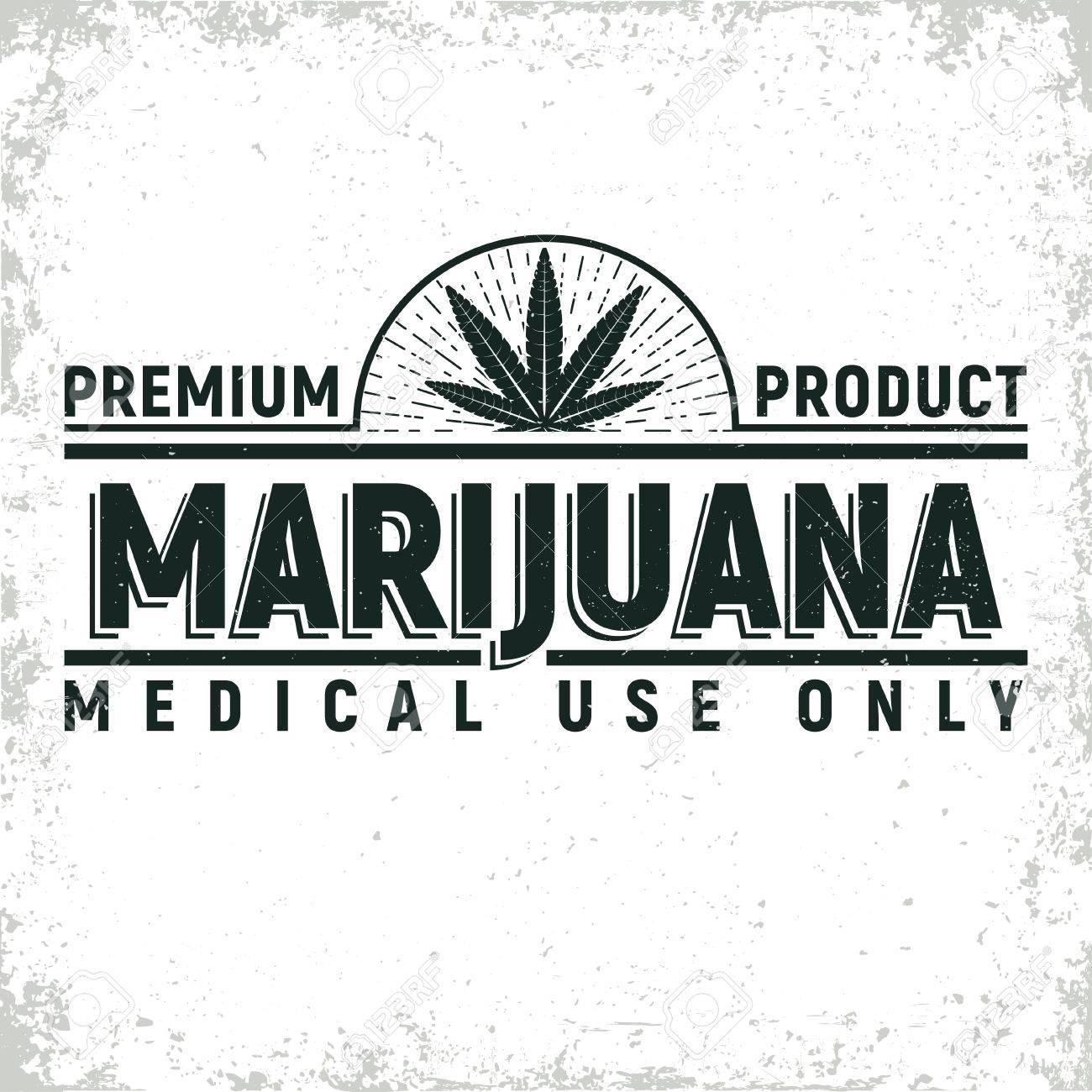 Vintage medical cannabis logo design, grange print stamp, creative marijuana typography emblem, Vector - 78687699