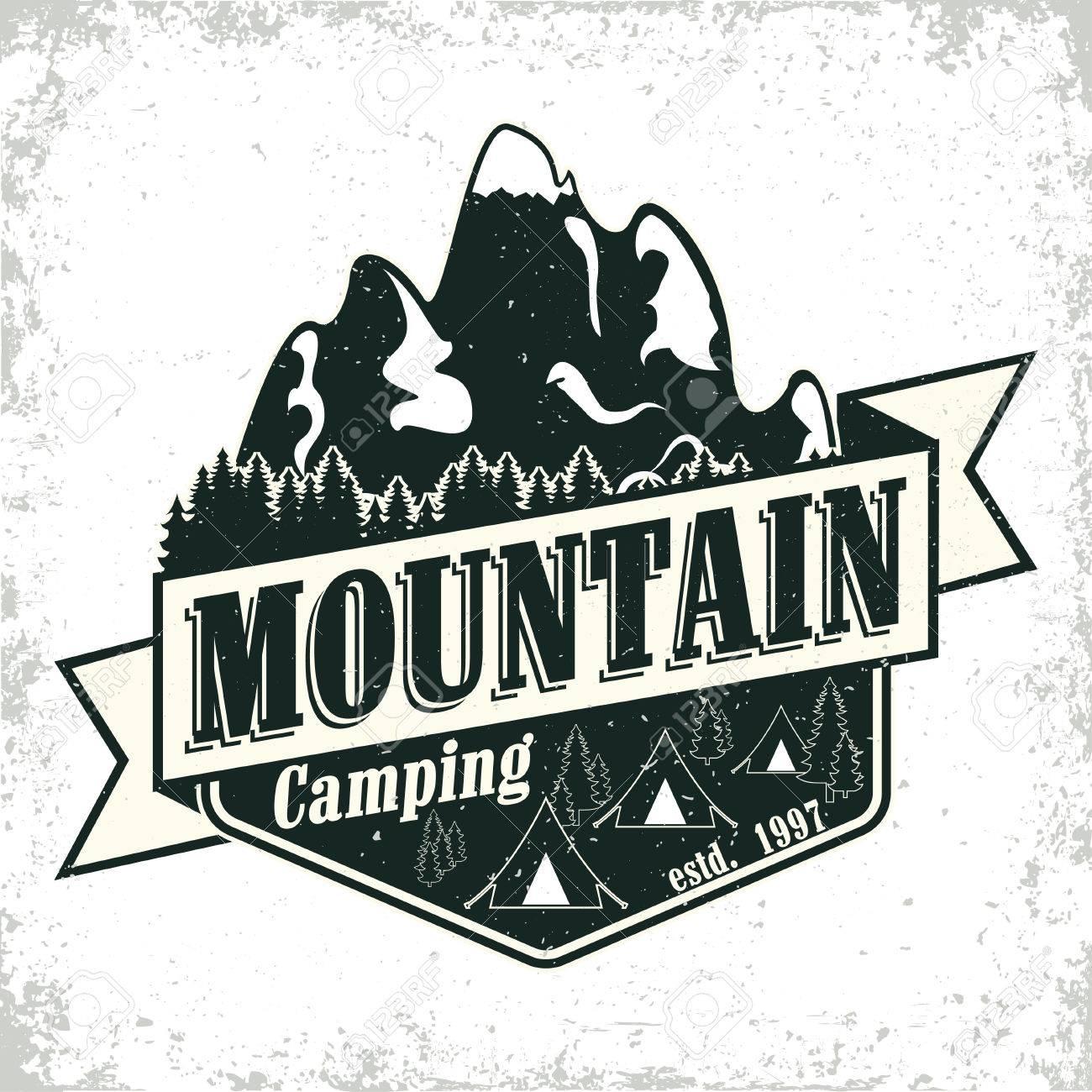 Vintage camping or tourism logo design, grange print stamp,