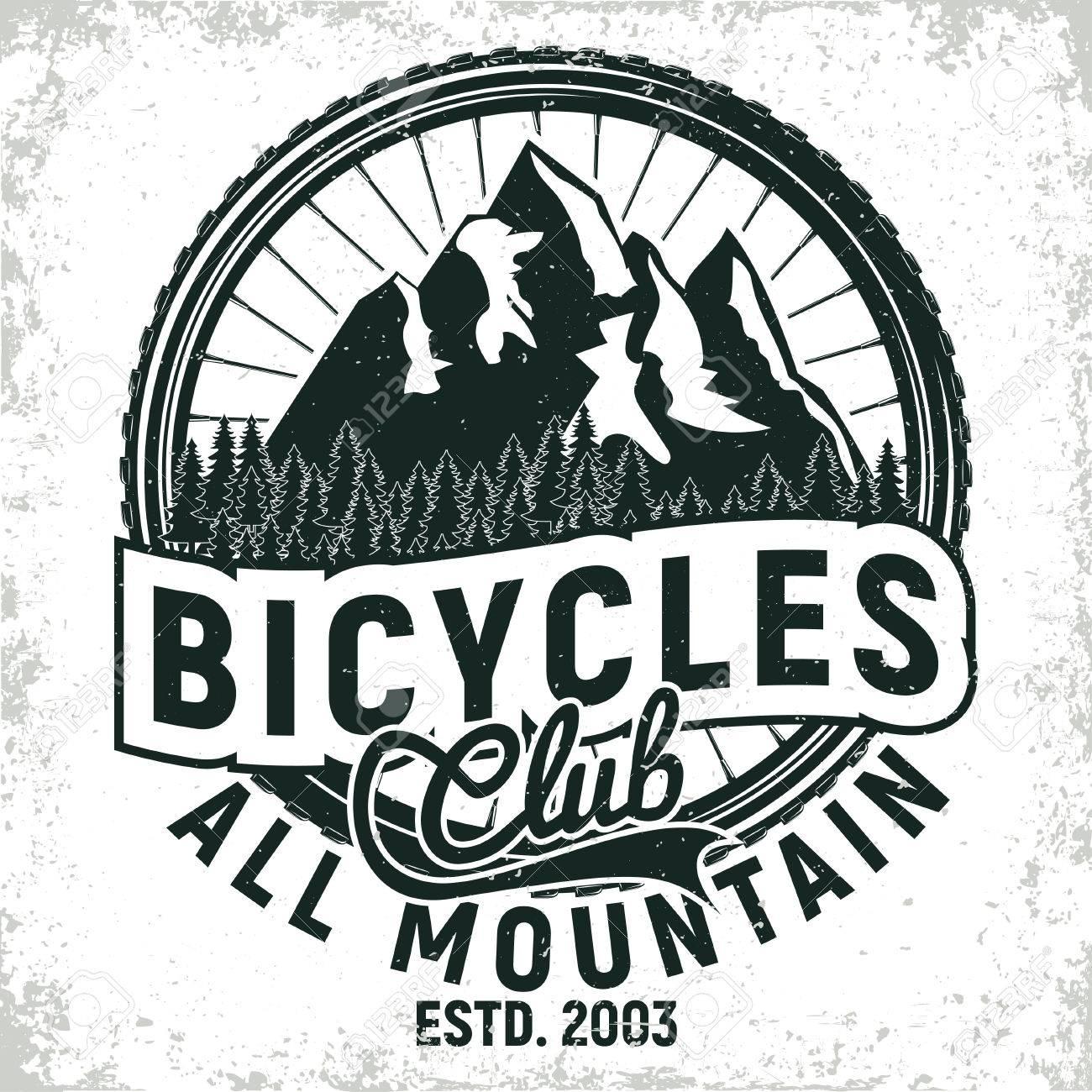 Vintage bicycles club logo design, all-mountain bikers grange print stamp, creative typography emblem, Vector - 80103278