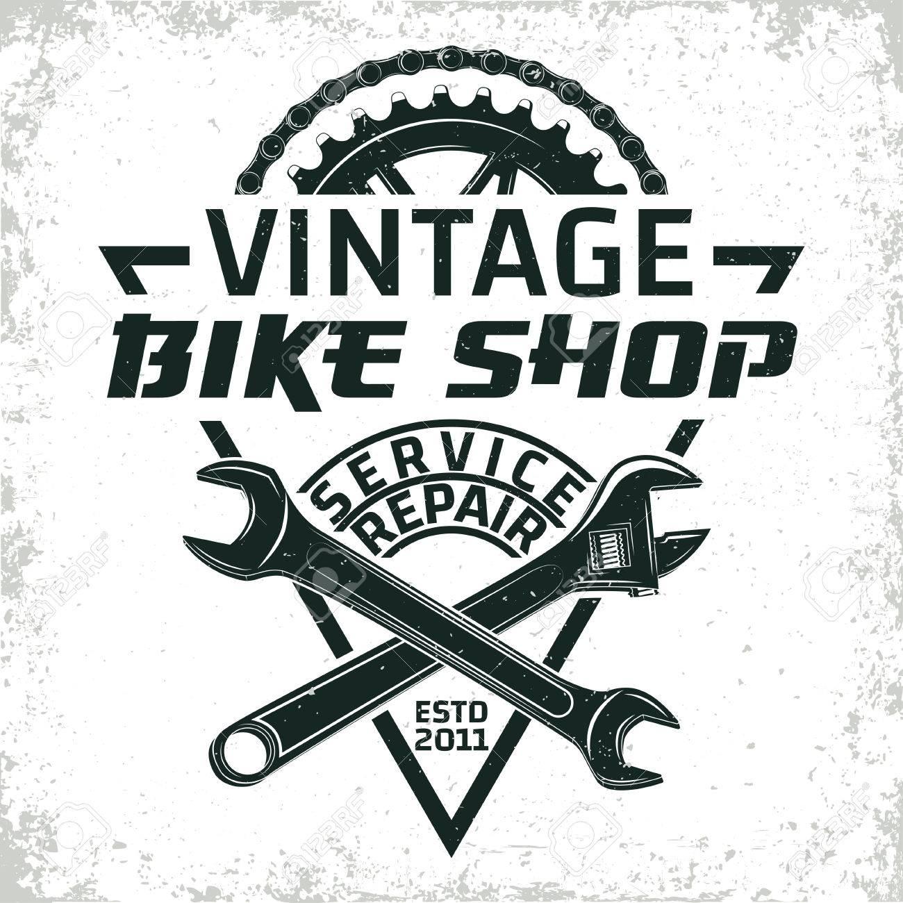Vintage bicycles repair shop logo design, grange print stamp, creative typography emblem, Vector. - 80103302