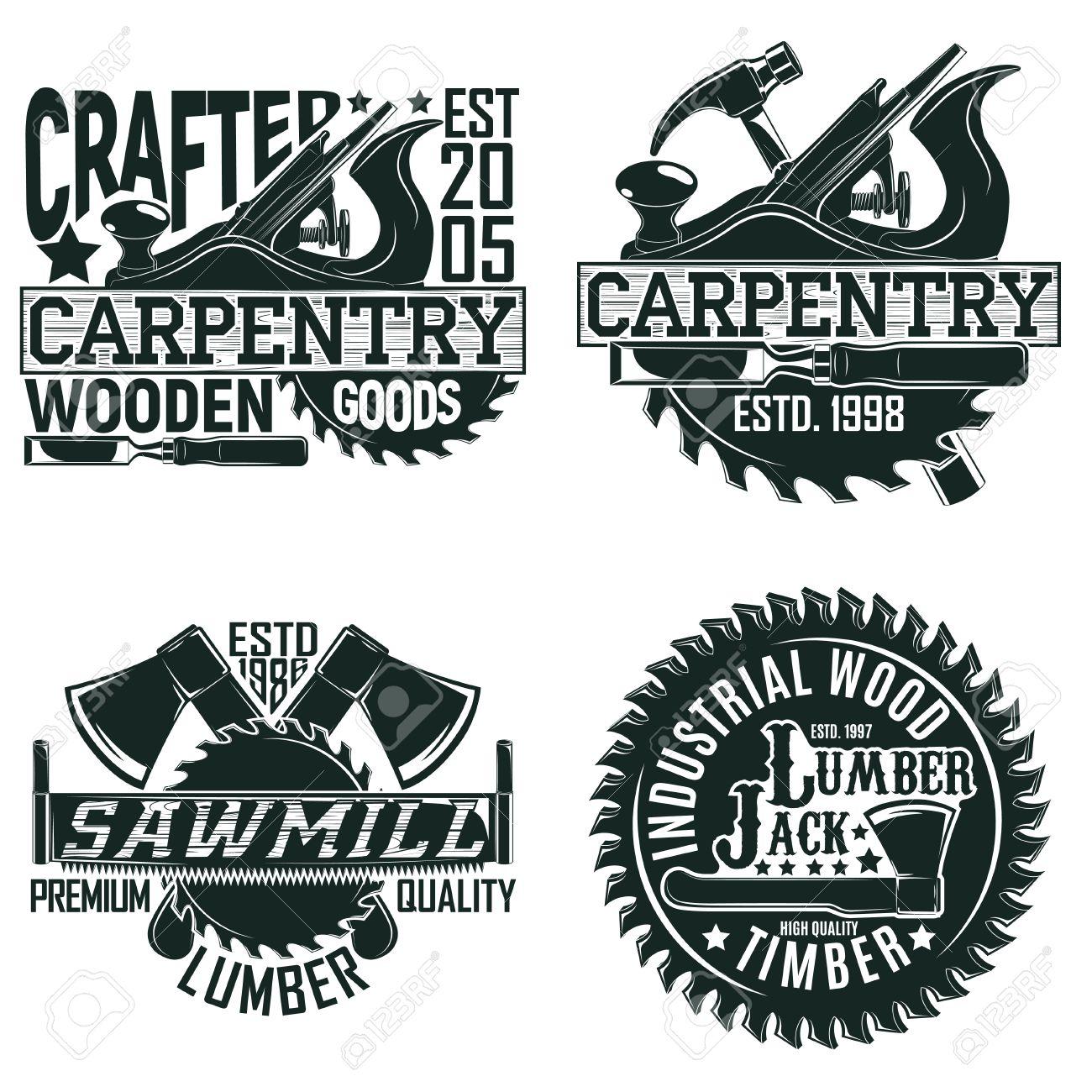 Set of Vintage woodworking logo designs, grange print stamps, creative carpentry typography emblems, Vector - 82676417