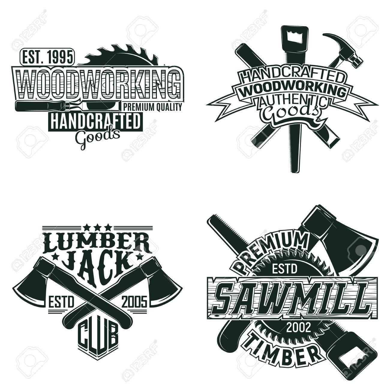 Set of Vintage woodworking logo designs, grunge print stamps,