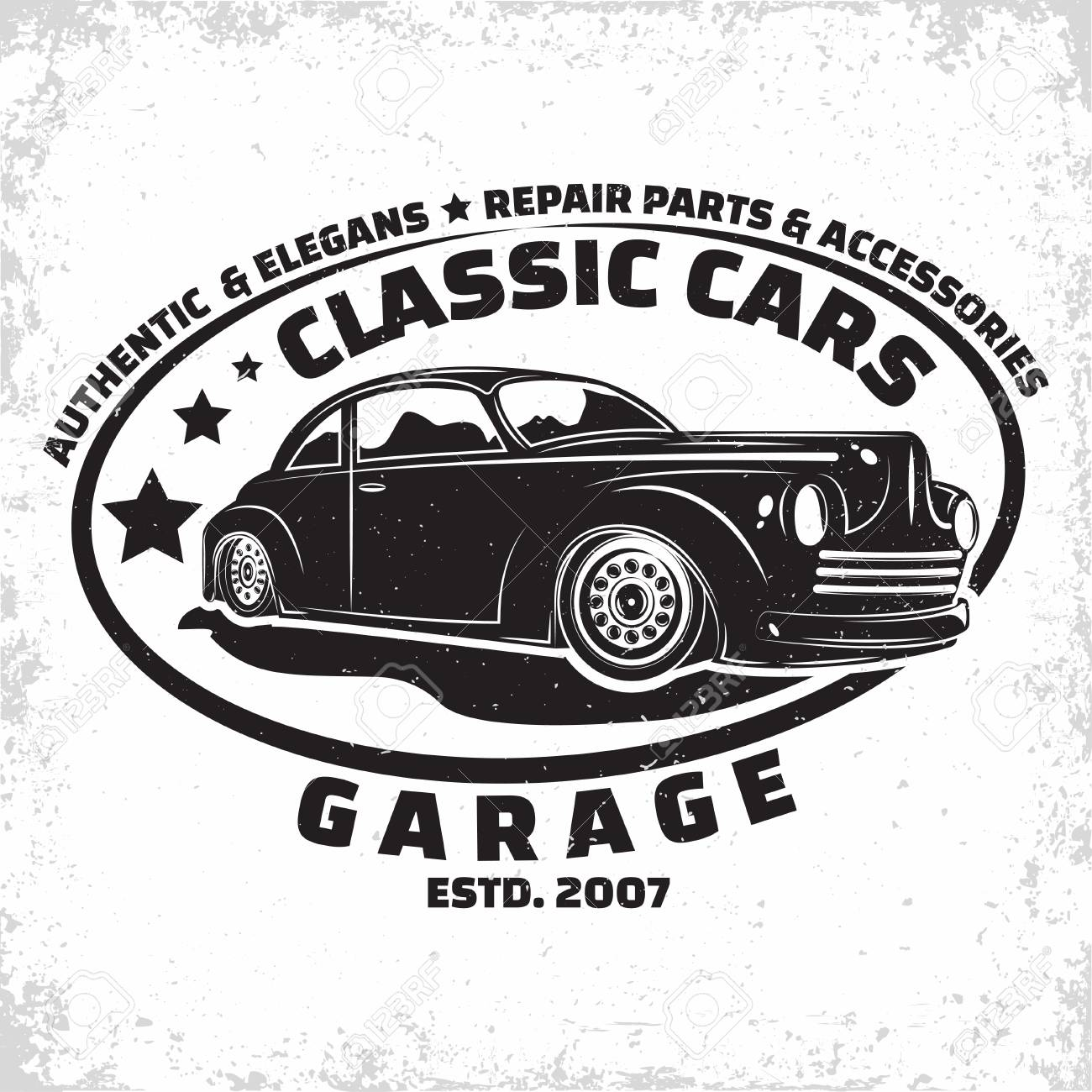 Hot Rod Garage Logo Design Emblem Of Muscle Car Repair And Service Royalty Free Cliparts Vectors And Stock Illustration Image 109580536
