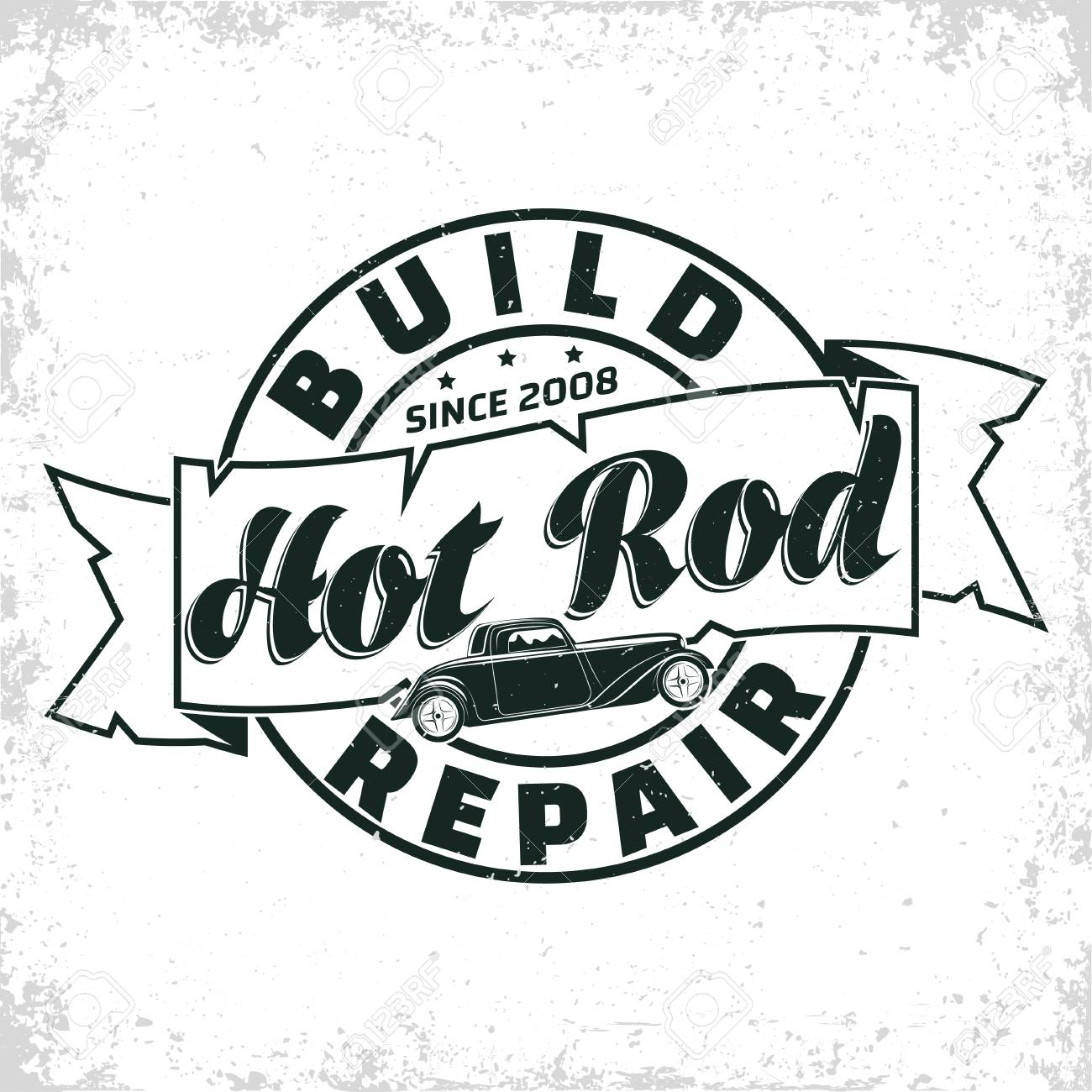 Hot Rod Garage Logo Design Emblem Of Muscle Car Repair And Service Royalty Free Cliparts Vectors And Stock Illustration Image 109580540