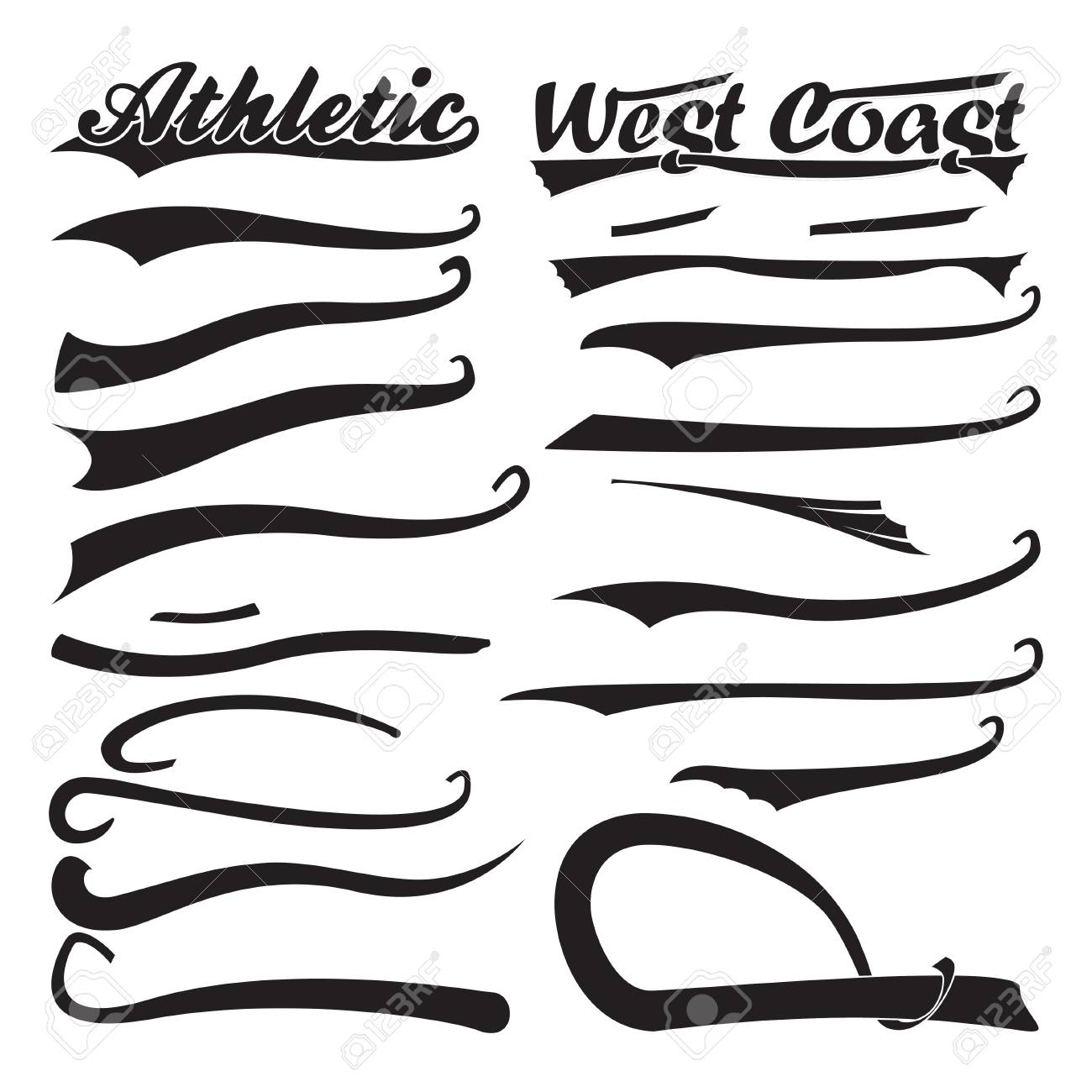 set of swooshes, sport underline swishes tail collection, highlighter..  royalty free cliparts, vectors, and stock illustration. image 126365078.  123rf