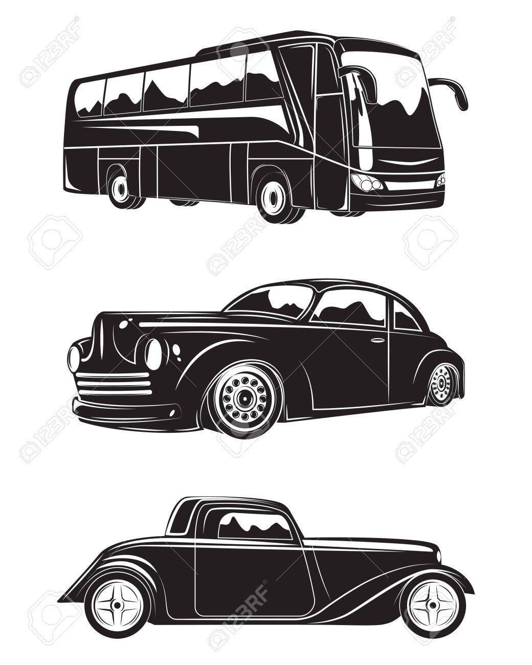 Set of machines excursion bus and hot rod, monochrome icons of machines isolated on white background, vector - 154820114