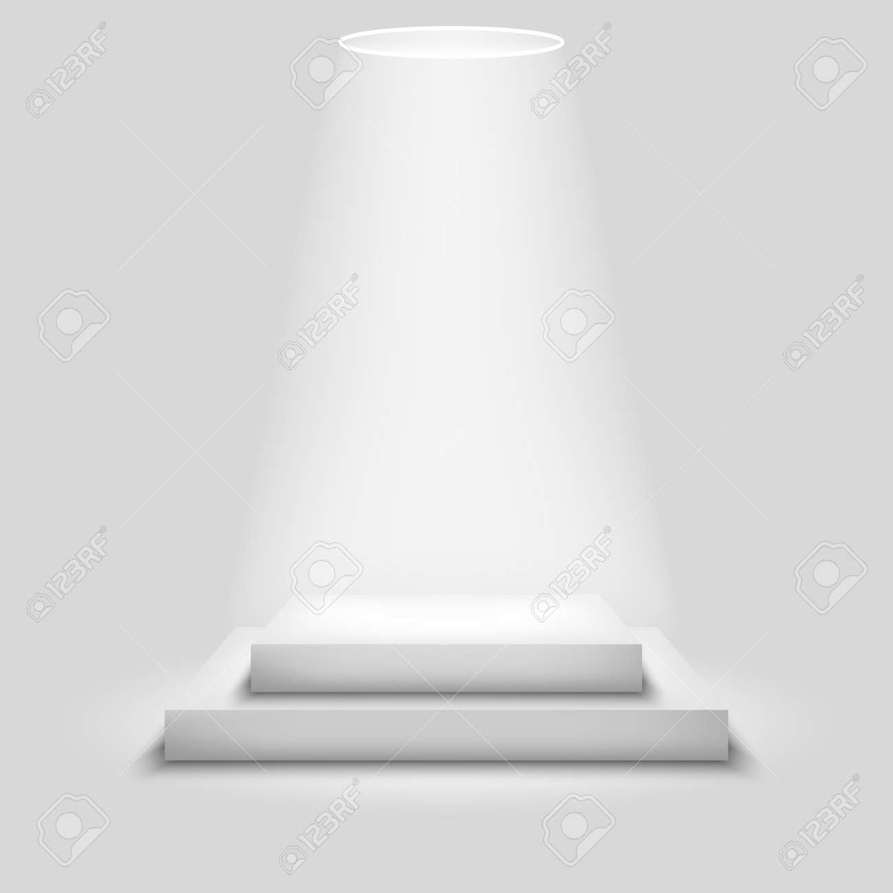 Realistic contest stage, empty white podium, place for product placement for presentation, winner podium or stage on gray background, vector - 154775365
