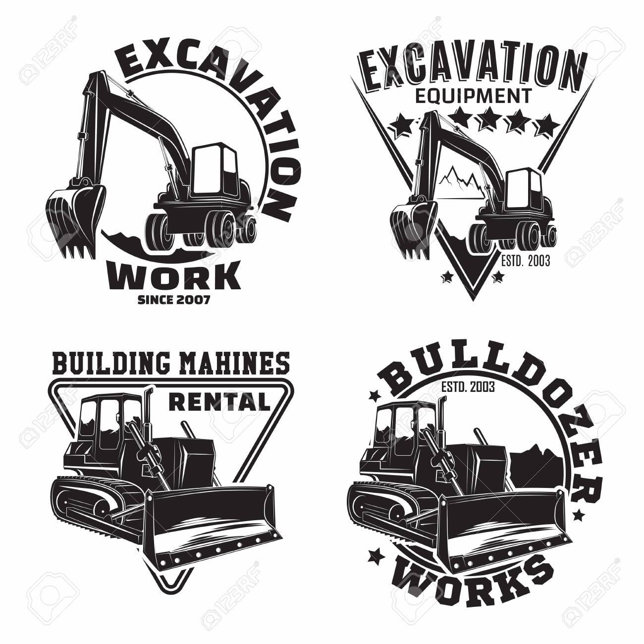 Set of Excavation work emblems design, emblems of bulldozer or building machine rental organization print stamps, constructing equipment, Heavy bulldozer machine typographyv emblems, Vector - 154820110