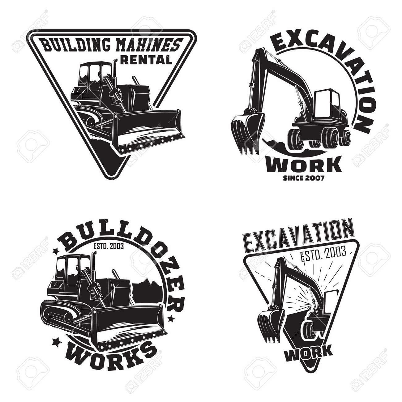 Set of Excavation work emblems design, emblems of bulldozer or building machine rental organization print stamps, constructing equipment, Heavy bulldozer machine typographyv emblems, Vector - 154820113