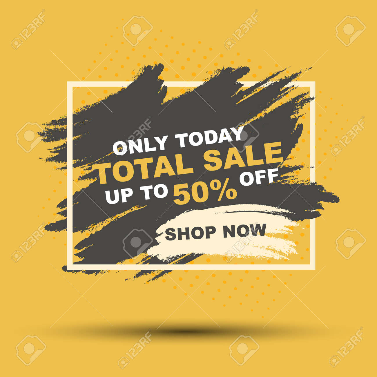 Sale banner on yellow and black background, brush banner template design, bage with modern abstract background, vector - 154820111