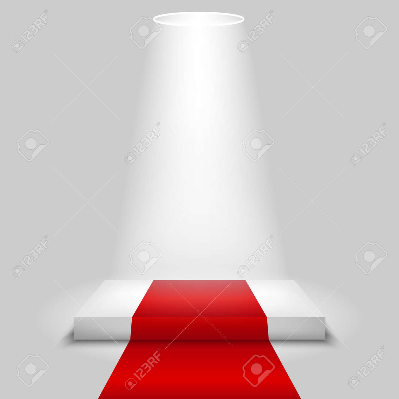 Realistic contest scene with the Red carpet and the spotlight, the Red carpet on empty white podium, place for product placement for presentation, winners podium or stage with the Red carpet, vector - 154820115