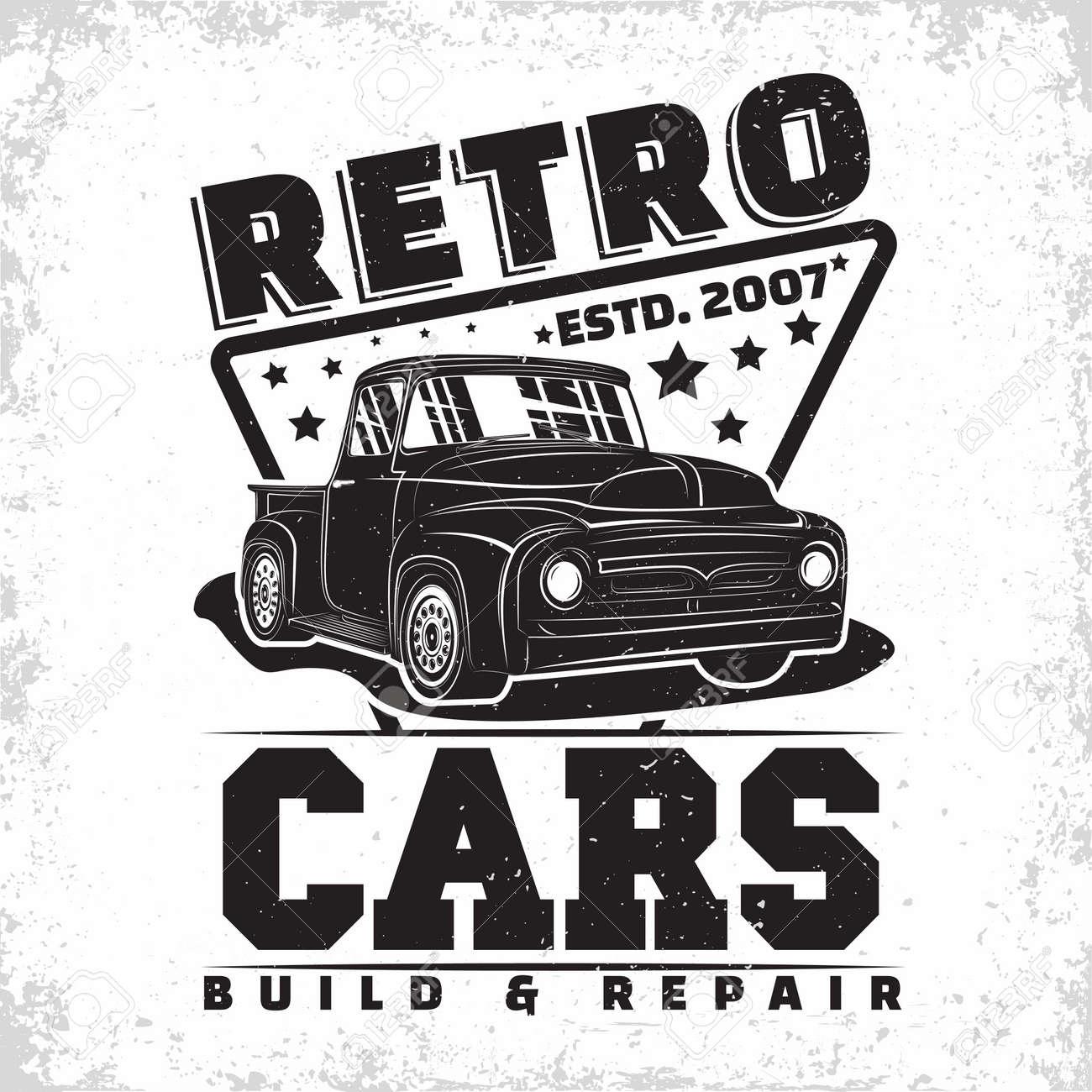 Hot Rod garage design, emblem of muscle car repair and service organization, retro car garage print stamps, hot rod typography emblem, Vector - 154820116