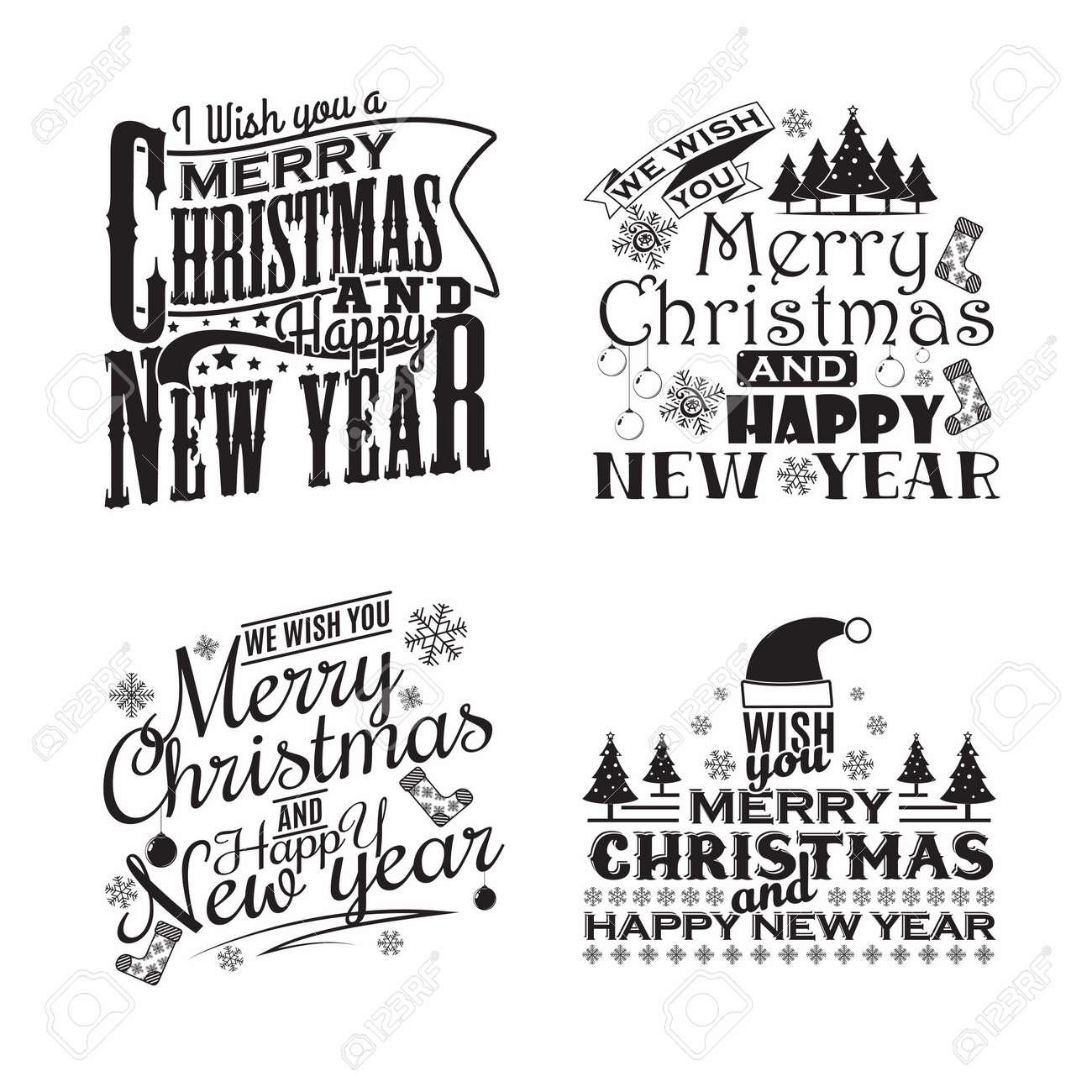 set of monochrome vintage christmas lettering emblems - 156729119