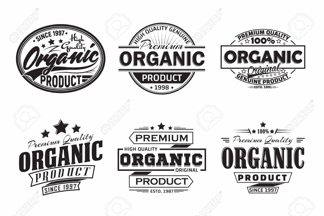 monochrome vintage Organic products labels or emblems design - 156729132