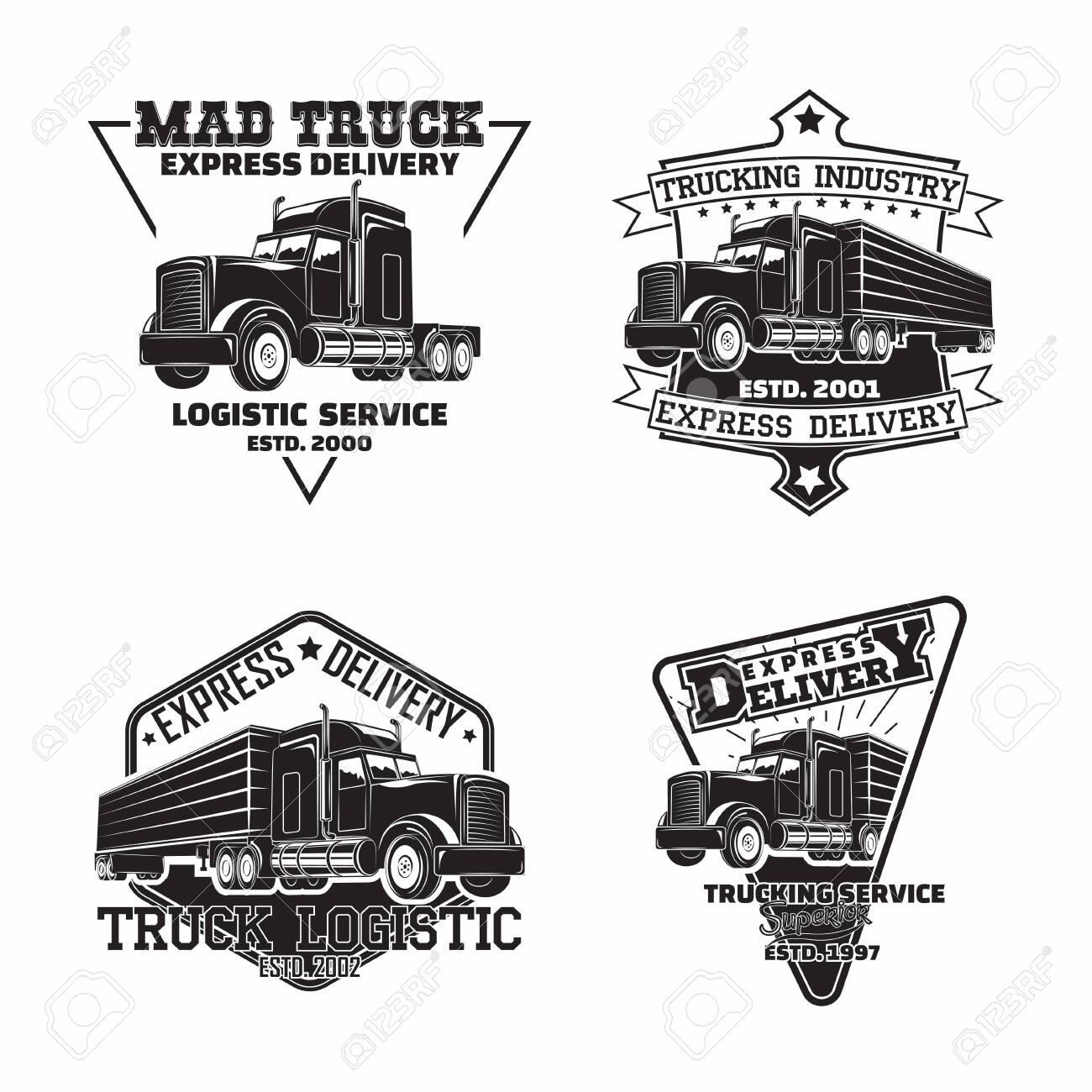 Set of trucking company vintage emblem designs - 156729131